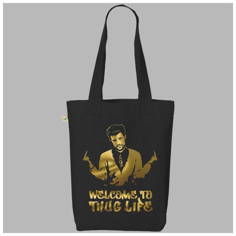 BLACK GOLD FOIL PRINT THUG LIFE TOTE BAG