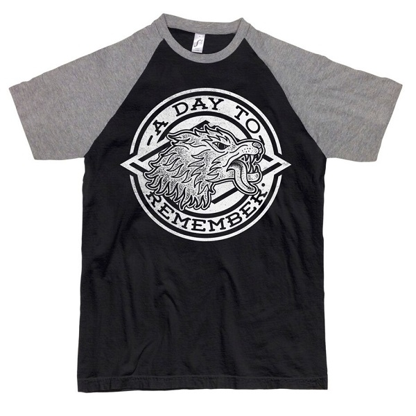 BLACK/GREY WOLFS HEAD BASEBALL T-SHIRT