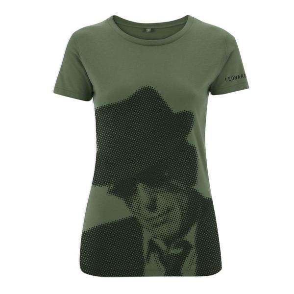 Military Green Halftone Ladies Slim Fit Tee