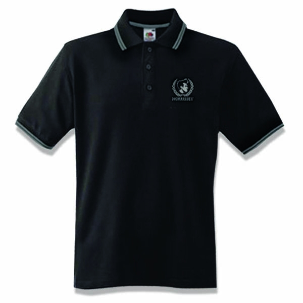 Black/Grey Crest Embroidered Ladies Polo Shirt