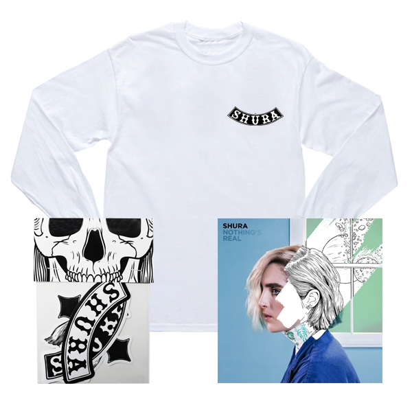 NOTHING'S REAL CD/WHITE T-SHIRT/STICKER BUNDLE