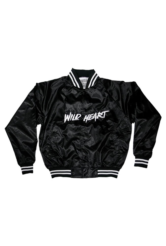 UNISEX BLACK WILDHEART SATIN BASEBALL JACKET