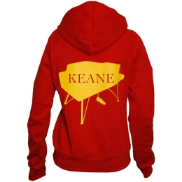 Ladies Piano Red Zip Hoody